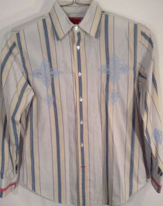 Guess Mens s Shirt Long Sleeve Striped Embroidered Blue Yellow Black Paisley | eBay