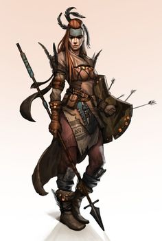 f Wood Elf Ranger Leather Shield Spear RPG Female Character Portraits