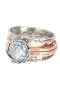 Sterling Silver Roman Glass Spinner Ring