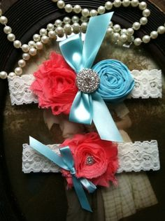Wedding Garter  Coral Tiffany Blue Ivory Lace by thehoneybeeshop, $24.00  My wedding colors plus something blue :)