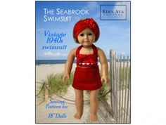 American Girl Doll clothes pattern Vintage 1940's Swimsuit | Liberty Jane Doll Clothes Patterns For American Girl Dolls
