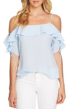 658d1f8581761 CeCe Cold Shoulder Ruffle Stretch Crepe Top