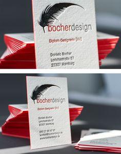 Letterpress business card with hotfoilstamping in silver and red edge painted | Letterpress Manufaktur Hamburg www.bocherdesign.de #DeepImpression.