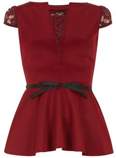 Burgundy peplum top - Tops & T-Shirts  - Clothing