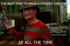 Striped sweater swag.