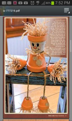 Terracotta pot scarecrow... burlap, jute and raffia
