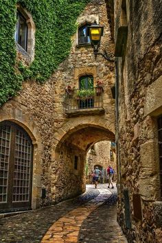 Medieval portal in Pals, Girona, Spain