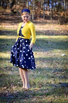 Navy Blue Polka dots and Yellow. Dress outfit with a cardigan. Spring fashion.