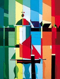 """Burghsluis - by  Kees van de Wetering: Fragmatic Art, """"acryl op Linnen, 3D, Haringparty 2007, 60 x 80 cm, Via kunstveiling aangekocht door Golfcentrum De Molenberg,  Burgh-Haamstede"""""""