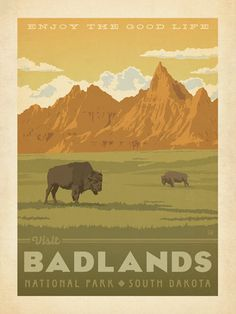 Badlands National Park - Anderson Design Group has created an award-winning series of classic travel posters that celebrates the history and charm of America's greatest cities and national parks. Founder Joel Anderson directs a team of talented Nashville-based artists to keep the collection growing. This print celebrates the painted beauty of Badlands National Park.