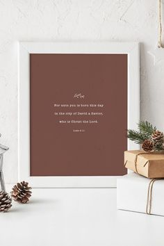 "Minimalist Christmas Bible Verse Print to decorate your home this holiday season! ""For unto you is born this day in the city of David a Savior, who is Christ the Lord."" Luke 2:11. Minimal Christmas Scripture Wall Art Decor. Red textured background with white font Christmas Jesus quote. #jesusquote #christmasbible #christmasscripture"
