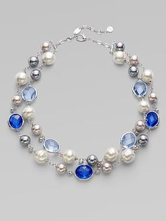 Majorica 12MM - 16MM Pearl, Crystal & Sterling Silver Necklace