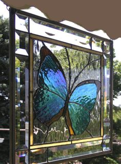 Stained Glass Window Panel--Blue Morpho Butterfly Framed x Faux Stained Glass, Stained Glass Designs, Stained Glass Panels, Stained Glass Projects, Stained Glass Patterns, Leaded Glass, Mosaic Glass, Mosaic Mirrors, Window Glass