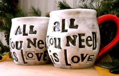 Personalized Mugs - ALL You Need Is Love - DEPOSIT for 2 Wheel Thrown Custom Pottery Cups Handmade To Order - Wedding, Vow Renewal Ceremony. $40.00, via Etsy.