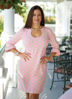 I bought this dress in Pinehurst!  I LOVE it and want more Katherine Way pieces!!!  Naples Dress in Medallion Lime & Pink by Katherine Way