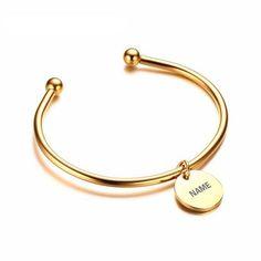 Laser Engrave Personalized Charm ID Women's Bangle/ Bracelet