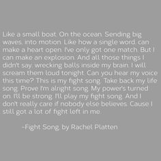 A lyric from the song Fight Song by Rachel Platten. One of my favorite songs.