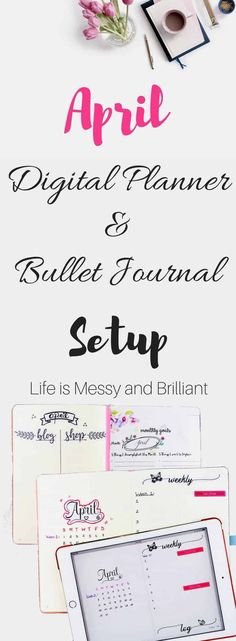 April Digital Planner and Bullet Journal Setup April Bullet Journal, Bullet Journal Hacks, Bullet Journal Layout, Bullet Journal Inspiration, Bullet Journals, Journal Ideas, Journal Prompts, Planner Template, Printable Planner