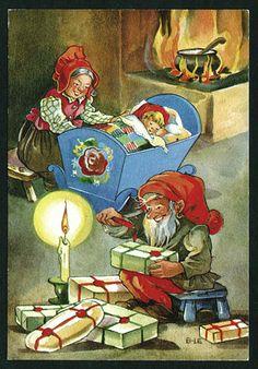 ˇˇ Swedish Christmas, Christmas Gnome, Scandinavian Christmas, Vintage Greeting Cards, Vintage Christmas Cards, Vintage Postcards, Gnome Pictures, Yule, Faeries