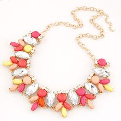 Neon Flamingo Megan Statement Necklace Available In Fire, Peach & Multi Colour. £8.99