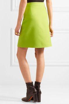 Gucci - Faux Pearl-embellished Wool-crepe Mini Skirt - Bright green - IT40