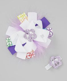 Take a look at this Purple Peace Sign & Bow Clip Set by Shimmy Shimmy Bowtique on #zulily today!