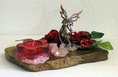 Candle holder RockFée, Fairy stand up on a rock, Red Roses Garden and Quartz Cristals