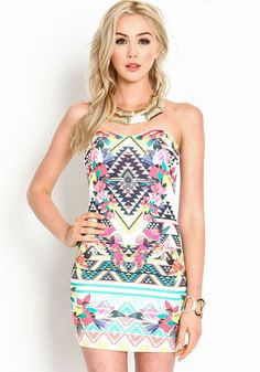 Tribal Strapless Bodycon Dress from Love Culture! <3