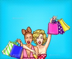 Buy Pop Art Illustration of Two Young Women by vectorpocket on GraphicRiver. Vector pop art illustration of two young glamorous enthusiastic girls show shopping bags with their purchases. Art And Illustration, Fashion Illustration Face, Vector Pop, Pop Art Women, Avant Garde Artists, Image Hd, Pop Art Girl, Girls Show, Clipart