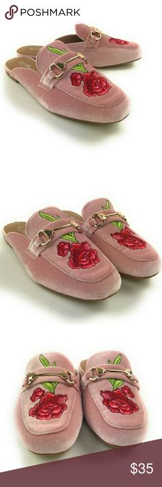 621cf09e541 Just in New Velvet Floral Mules! With Box Stunning new pink floral Lemay  mules.