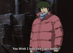 You Watanabe Cowboy Bebop -Spike Spiegel. Can we talk about his puffy jacket? Cowboy Bebop Faye, Cowboy Bepop, Cowboy Bebop Quotes, Comic Manga, Manga Anime, Anime Art, Danshi Koukousei No Nichijou, See You Space Cowboy, Fanart