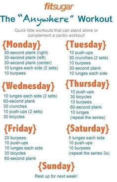 Week-at-a-glance workout