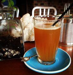 Fermented ginger turmeric kombucha tea in Byron Bay 'The Roadhouse'. Fermented Tea, Fermented Foods, Kombucha Tea, Byron Bay, Kefir, Juicing, Healthy Drinks, Turmeric, Screen Shot