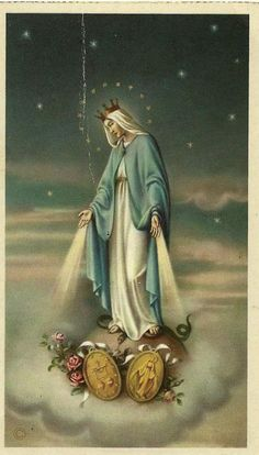 Our Lady with her Miraculous Medal. One of my favorite holy cards of Our Mother Mary