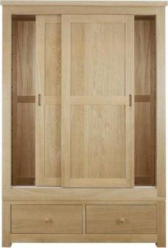 Lambourne Sliding Door 2 Drawer Double Wardrobe
