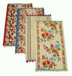 Vintage dish towels- I love the little picot edge. Always in Stitches carries a line similar to these vintage towels.