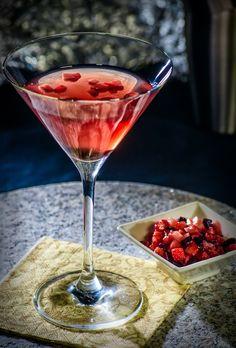 Black-Olive brine & Strawberry martini