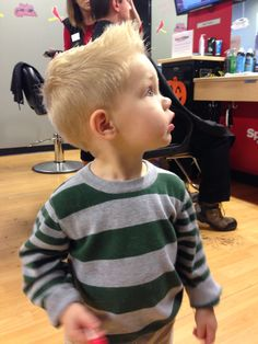 Little boy haircut.