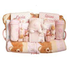 CANASTILLA COMPLEMENTOS PERSONALIZADA. Cestas para gemelos, mellizos, trillizos. Canastillas para bebés y recién nacidos.