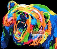 Rainbow abstract bear cross stitch kit