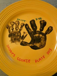 Father's Day Craft (would be great for any holiday!). Handprints with paint on plates then bake at 350 degrees for 30 min to set!