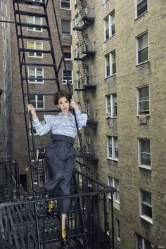 Chiling Lin for Vogue Taiwan August 2015 - Miu Miu Fall 2015 blouse and necklace