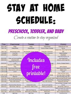 This is the best schedule for stay at home mamas! It includes schedule for baby, toddler AND preschooler!