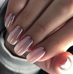 Pretty nail design. Gold and blush nail #naildesigns #nailcolor #naildesign