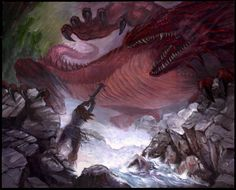 """The Slaying of Glaurung 28""""x 36"""" Part of a series based on the writings of J. R. R. Tolkien. From the Silmarillion. This painting was just featured in the movie, Ringers: Lord of the Fans, a pretty cool documentary on the fans of Tolkien's writings and the movies. It was pretty well made and not at all a jab at fans the way Trekkies was. The painting was used immediately following part of an interview with Geddy Lee of Rush."""