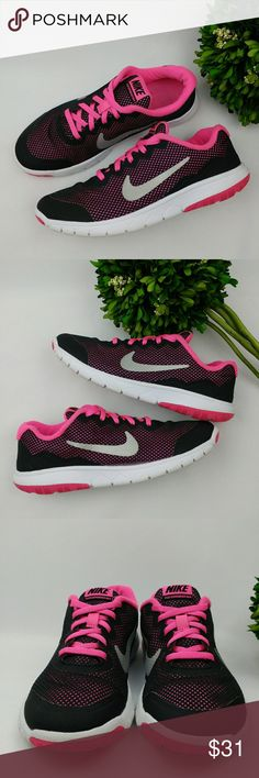 Nike Flex Experience RN 4 girls athletic shoes Nike Flex Experience RN 4 girls athletic shoes Black/pink/white/silver colors In good condition Have been washed and sanitized. Few scuffs and stains on the soles. Size 4.5 23.5 cm Nike Shoes Sneakers