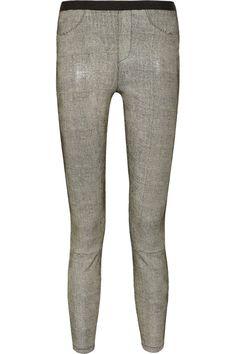 Helmut Lang|Snake-print leather leggings-style pants