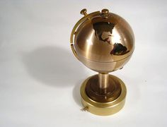 revolving music box world globe cigarette holder by space24retro, $92.00