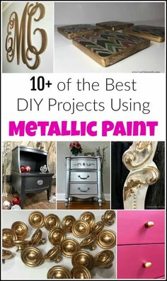 of the Best DIY Projects Using Metallic Paint Metallic paint can do amazing things for your painted furniture and DIY projects. The options are endless when it comes to using shimmery gorgeous metallic paint. Silver Metallic Paint, Metallic Painted Furniture, Colorful Furniture, Paint Furniture, Furniture Makeover, Furniture Design, Rocking Chair Makeover, Paint Brands, Diy Home Decor On A Budget