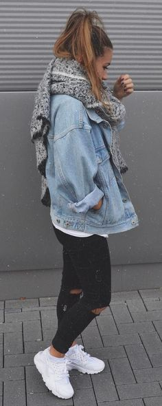 fall street style addict : scarf + denim jacket + top + skinnies + sneakers